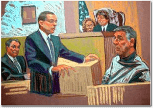 Court artist's rendition of Mark Bederow - New York City criminal defense attorney